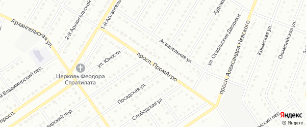 Проспект ПромАгро на карте Старого Оскола с номерами домов