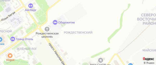 Рождественский микрорайон на карте Старого Оскола с номерами домов