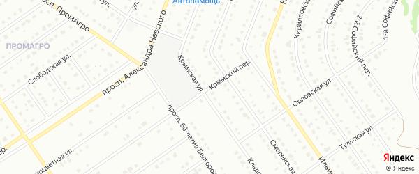 Крымский переулок на карте Старого Оскола с номерами домов