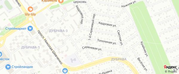 1-й Сиреневый переулок на карте Старого Оскола с номерами домов