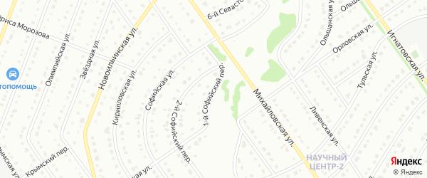 1-й Софийский переулок на карте Старого Оскола с номерами домов
