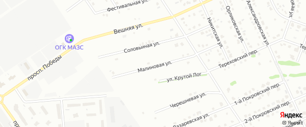 Малиновая улица на карте Старого Оскола с номерами домов