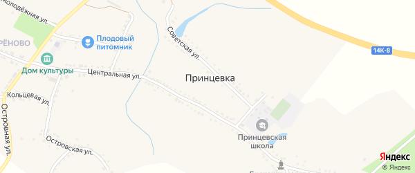 Островская улица на карте села Принцевки с номерами домов