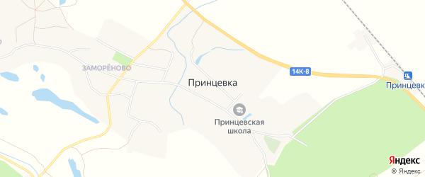 Карта села Принцевки в Белгородской области с улицами и номерами домов
