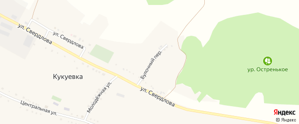 Булочный переулок на карте села Кукуевки с номерами домов