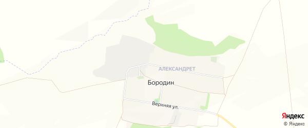 Карта хутора Бородина в Белгородской области с улицами и номерами домов