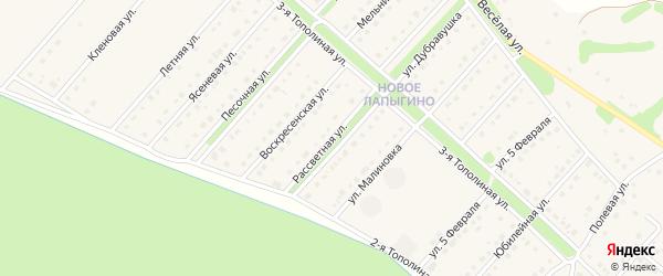 Рассветная улица на карте села Лапыгино с номерами домов