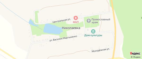 Центральная улица на карте села Николаевки с номерами домов