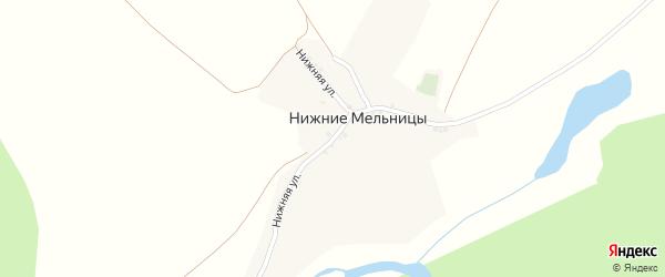 Нижняя улица на карте хутора Нижние Мельницы с номерами домов