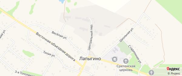 Центральный переулок на карте села Лапыгино с номерами домов