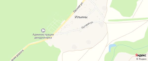 Луговая улица на карте хутора Ильины с номерами домов