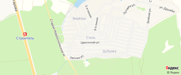СТ Сталь на карте Старооскольского района с номерами домов