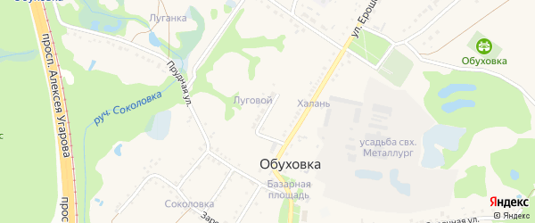 Луговой переулок на карте села Обуховки с номерами домов