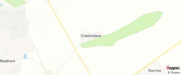Карта хутора Симоновки в Белгородской области с улицами и номерами домов