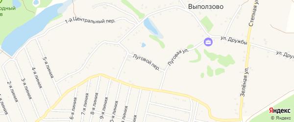 Луговой переулок на карте села Выползово с номерами домов