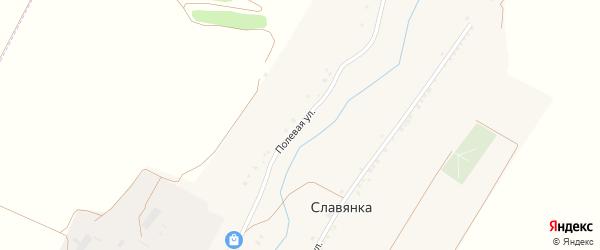 Полевая улица на карте хутора Славянки с номерами домов