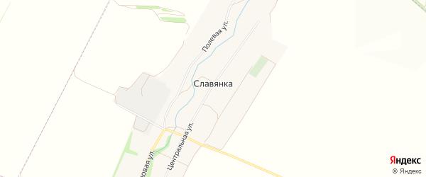 Карта хутора Славянки в Белгородской области с улицами и номерами домов