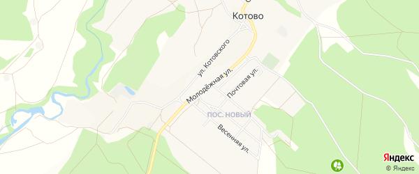 Карта села Котово в Белгородской области с улицами и номерами домов