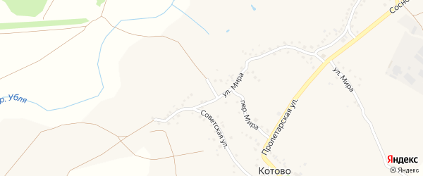 Советский переулок на карте села Котово с номерами домов