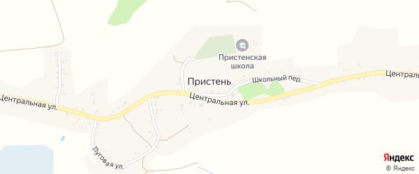 Луговой переулок на карте села Пристеня с номерами домов