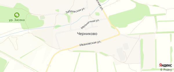 Карта села Черниково в Белгородской области с улицами и номерами домов
