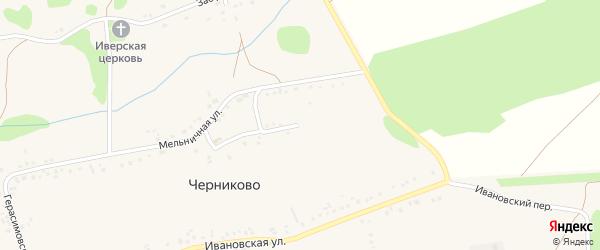 Мельничный переулок на карте села Черниково с номерами домов