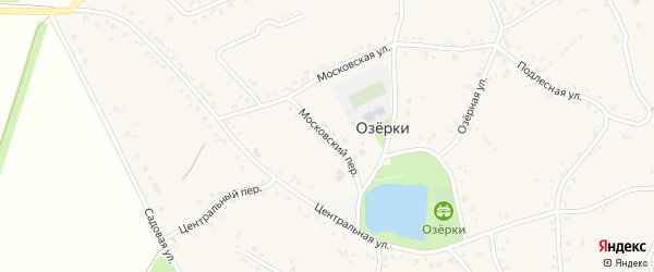 Московский переулок на карте села Озерки с номерами домов