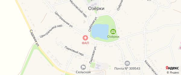 Центральная улица на карте села Озерки с номерами домов