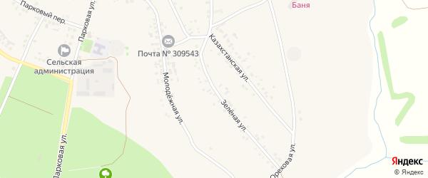 Зеленая улица на карте села Озерки с номерами домов
