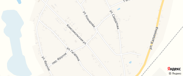 Комсомольский переулок на карте Двулучного села с номерами домов