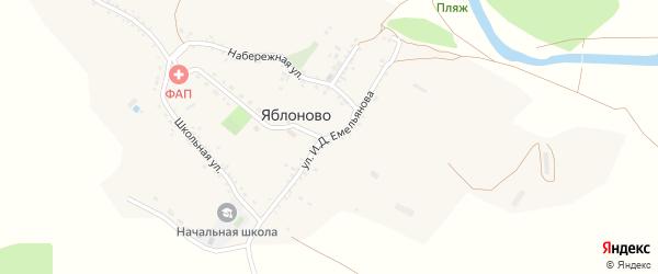 Улица Емельянова И.Д. на карте села Яблоново с номерами домов