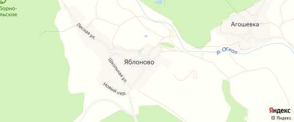 Карта села Яблоново в Белгородской области с улицами и номерами домов