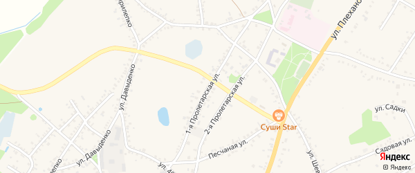 1-я Пролетарская улица на карте поселка Уразово с номерами домов