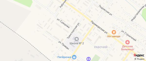 Транспортная улица на карте Онеги с номерами домов