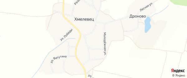 Карта села Хмелевца в Белгородской области с улицами и номерами домов