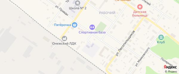 Железнодорожная улица на карте Онеги с номерами домов