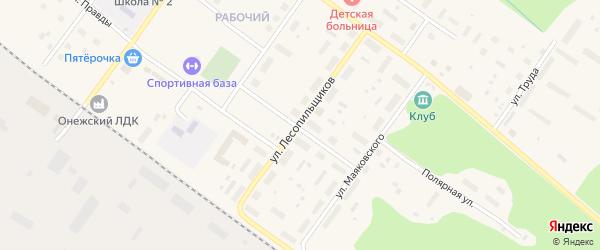Улица Льва Толстого на карте Онеги с номерами домов
