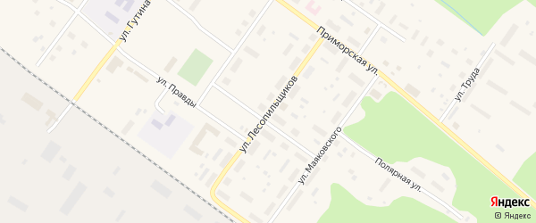 Улица Лесопильщиков на карте Онеги с номерами домов