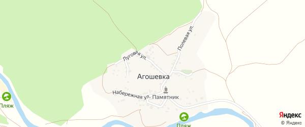 Луговая улица на карте села Агошевки с номерами домов