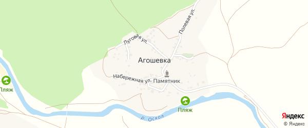 Тихий переулок на карте села Агошевки с номерами домов