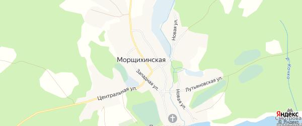 Карта деревни Морщихинская (Павловское мо) в Архангельской области с улицами и номерами домов