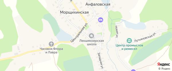 Западная улица на карте деревни Морщихинская (Печниковское мо) с номерами домов