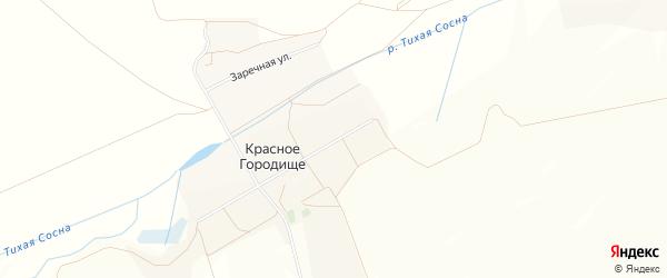 Карта села Красного Городища в Белгородской области с улицами и номерами домов