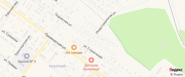 Индустриальная улица на карте Онеги с номерами домов