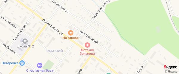 Улица Строителей на карте Онеги с номерами домов