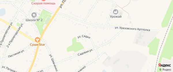 Улица Садки на карте поселка Уразово с номерами домов