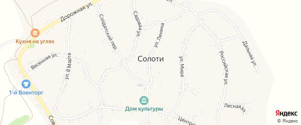 Зеленая улица на карте села Солоти с номерами домов