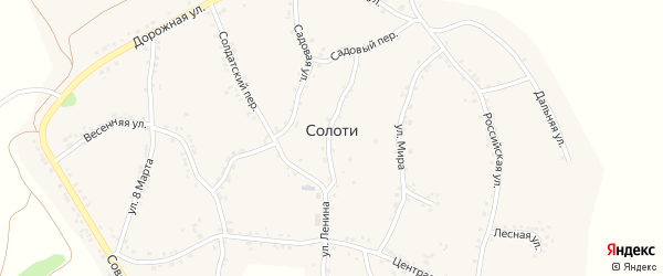 Российский переулок на карте села Солоти с номерами домов