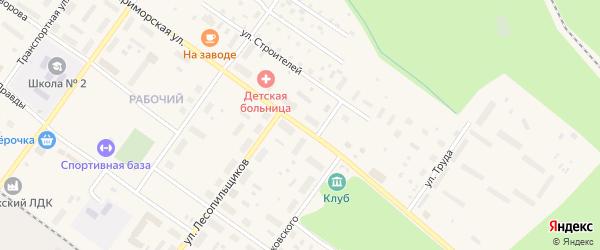 Приморская улица на карте Онеги с номерами домов