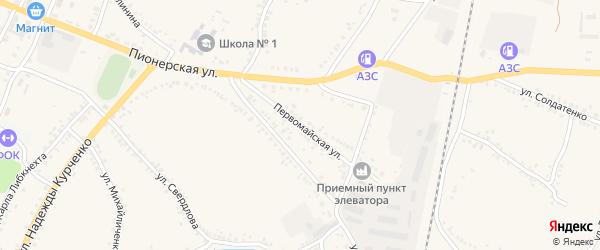 Первомайская улица на карте поселка Уразово с номерами домов
